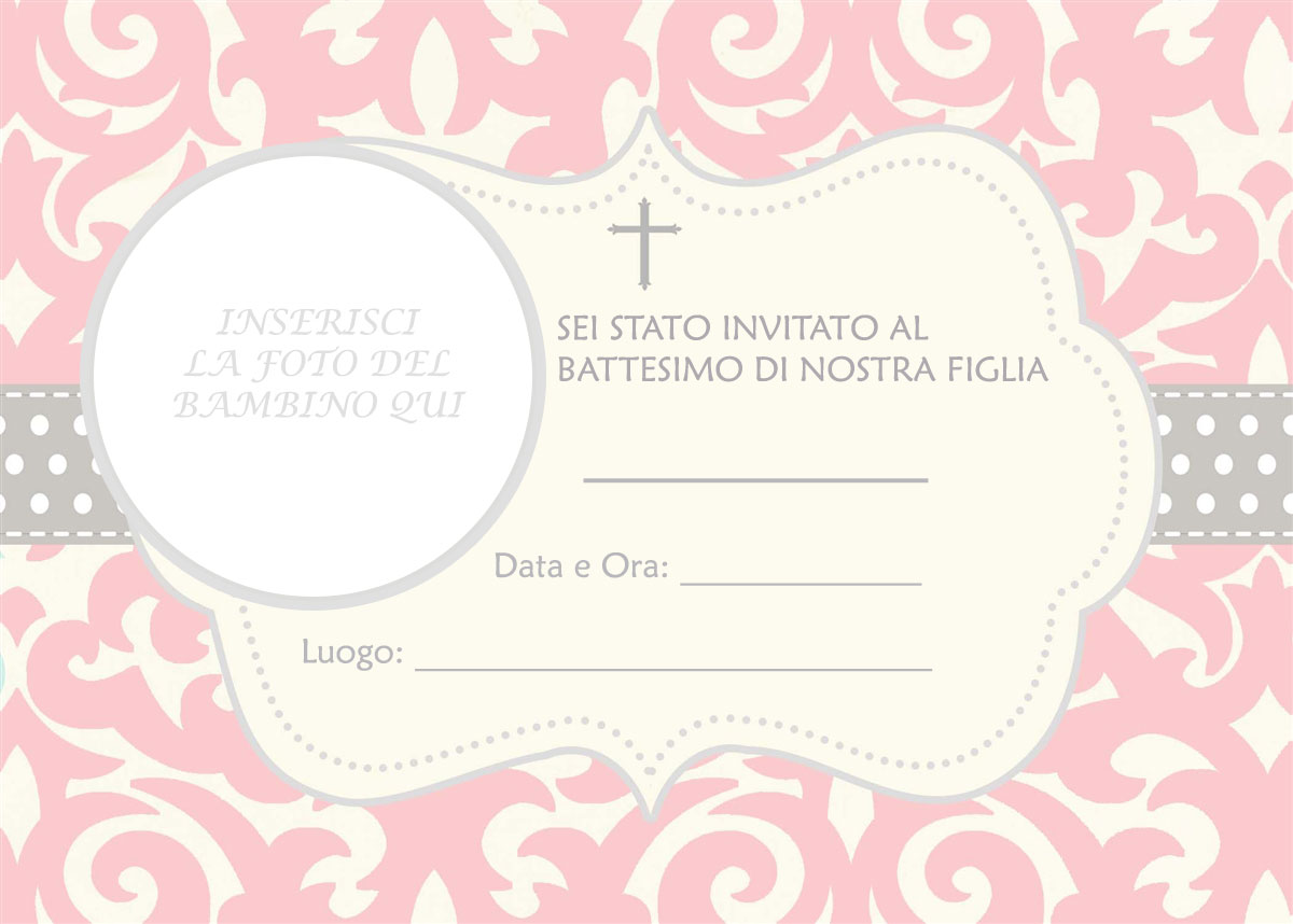 Popolare Biglietti e inviti Battesimo originali GRATIS da stampare IM93
